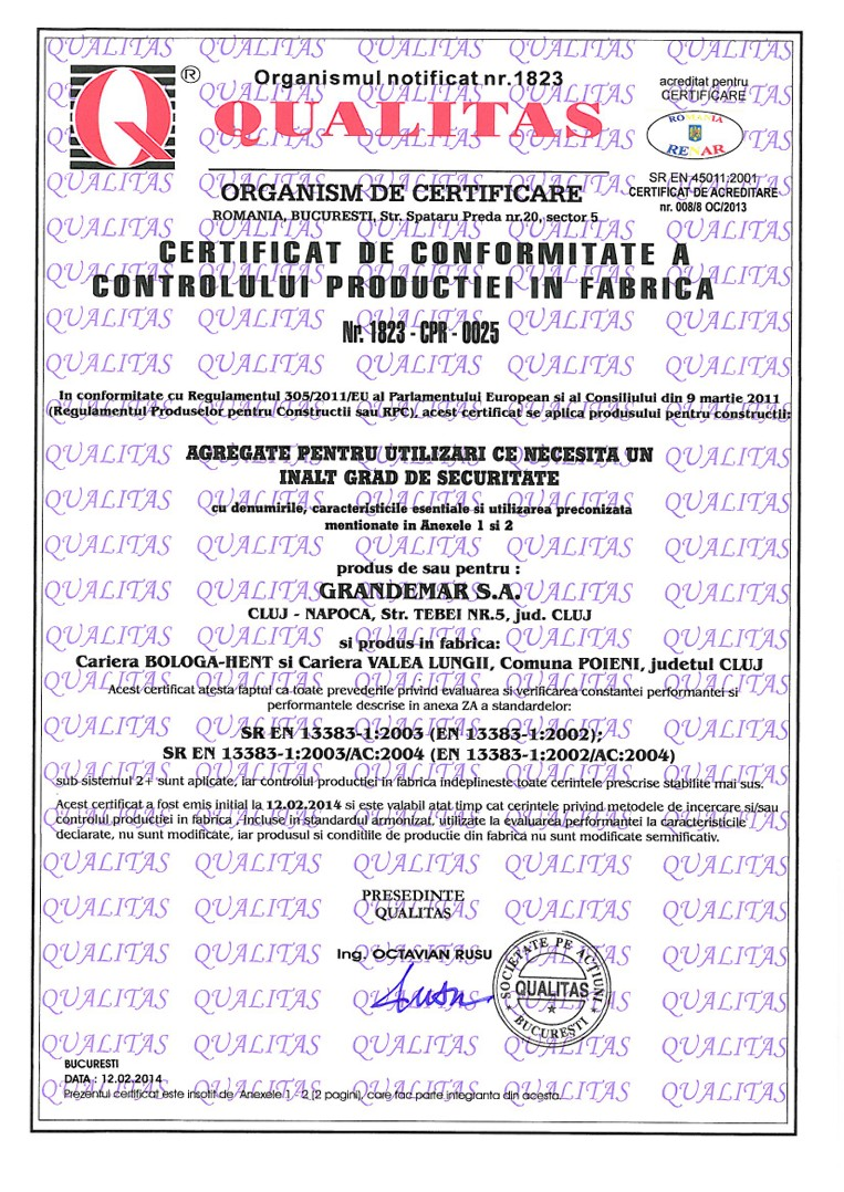 grandemar certifications and authorizations bologa hent quarry